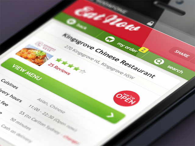 eatnow.com.au on the iphone 5 screen