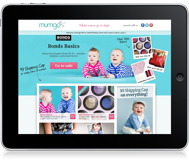 how mumgo.com.au looks on a ipad screen